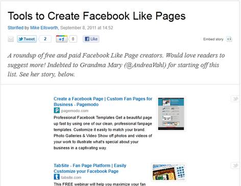 Tools to Create Facebook Like Pages - Storify
