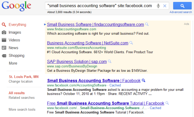 Google accounting search facebook