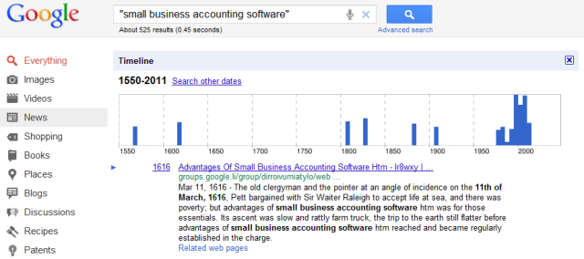 Google accounting search timeline