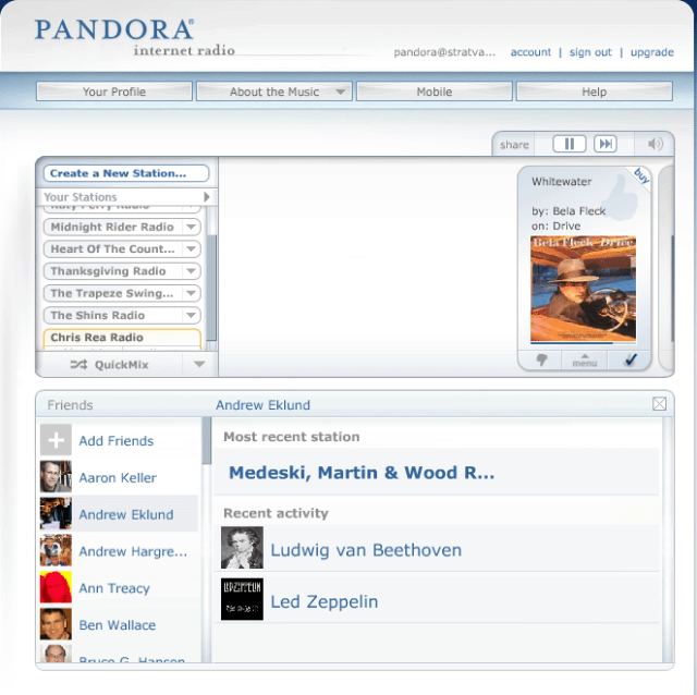 Pandora friends channels