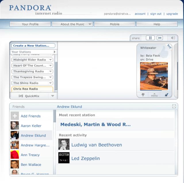Pandora friends channels