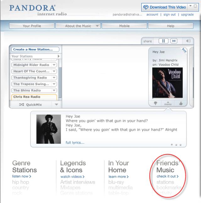 Pandora friends music selection