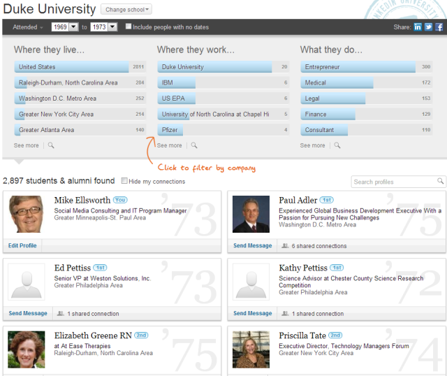 LinkedIn Contacts listing of alumni