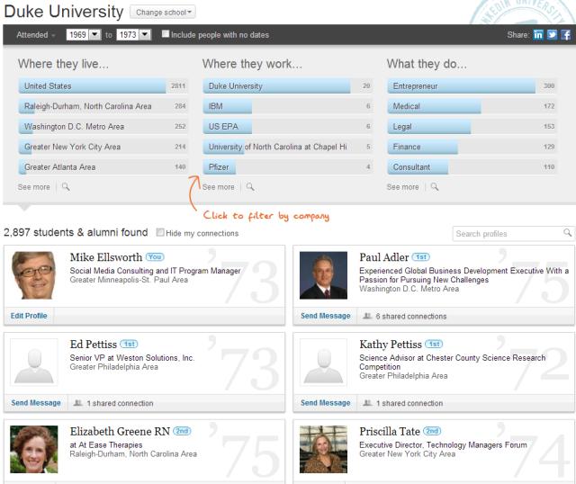 LinkedIn Contacts listing of alumni