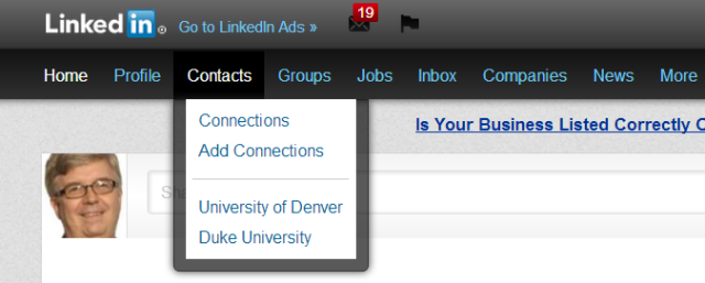 LinkedIn Contacts school listing