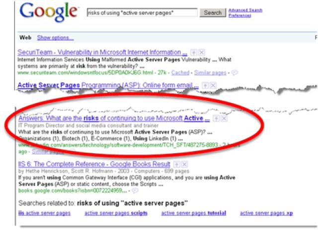 Google risks of ASP