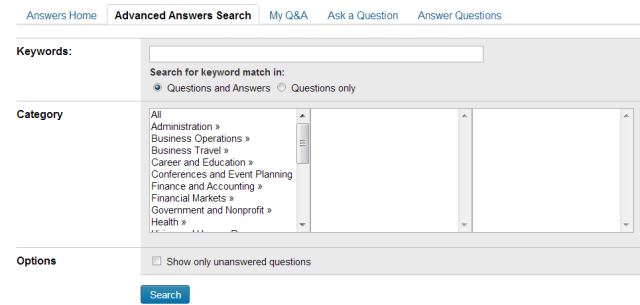 LinkedIn advanced answers search