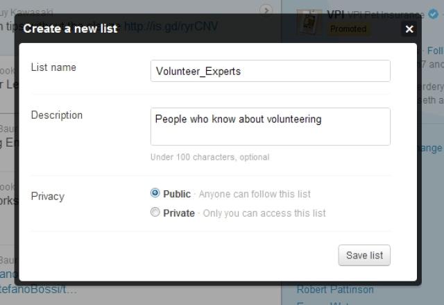 Twitter list create