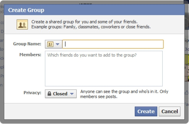 Facebook create group
