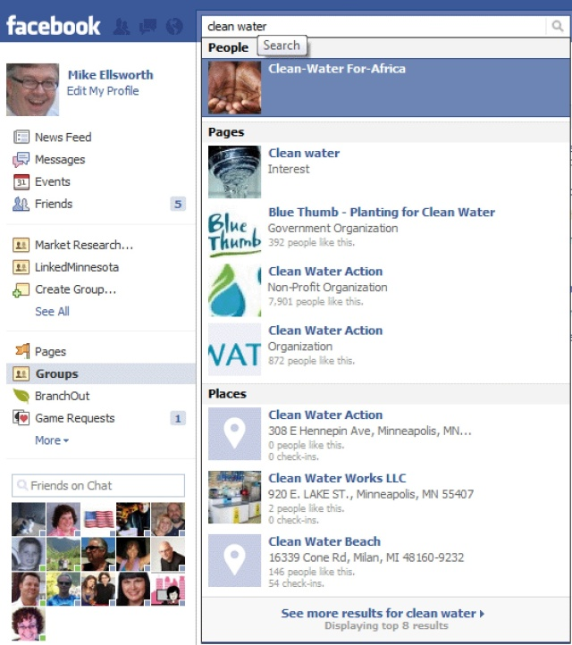 Facebook group search