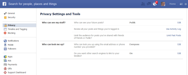 Facebook more privacy settings