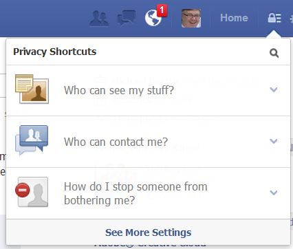 Facebook new privacy settings main menu