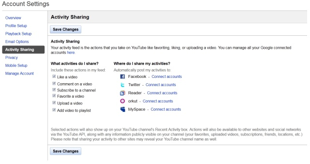 YouTube activity sharing