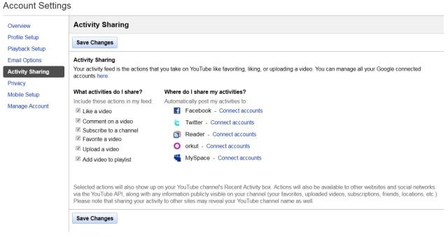 YouTube activity sharing