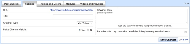 YouTube channel settings