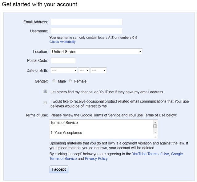 YouTube signup form