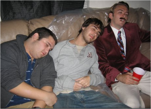 Three Guys Bored at a Party